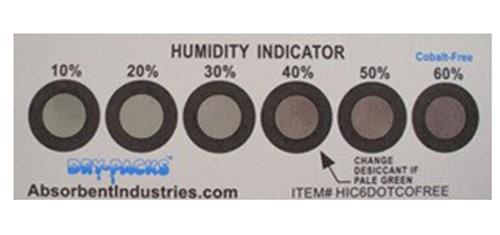 Cobalt Free Humidity Indicator Card - 6 Dot 10% - 60%